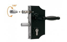 Locinox LAKY F2 ornamental mechanical lock for swing gates 10-20mm box section